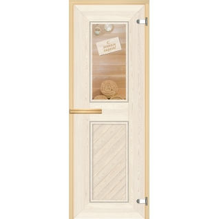 Дверь для сауны АКМА Арт-серия GlassJet С ЛЕГКИМ ПАРОМ 7х19 (коробка -осина/липа)