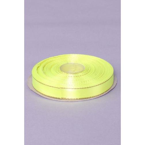 Лента атлас 12 мм с золотом, желтый (рул 25 м) 36977062