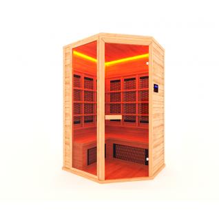 Инфракрасная сауна 3 - местная, угловая со стеклянной дверью и одной стеклянной вставкой