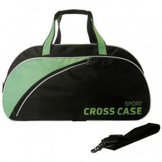 Сумка спортивная нейлон чёрная, зеленая отделка CCS-1039-03