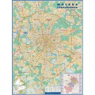 Настенная карта Москва современная с каждым домом 1:34тыс.,1,58х1,18м.