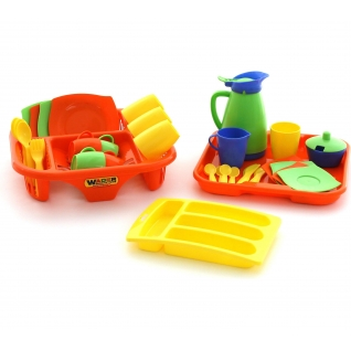 """Набор детской посуды """"Алиса"""" с сушилкой, подносом и лотком на 4 персоны Полесье"""