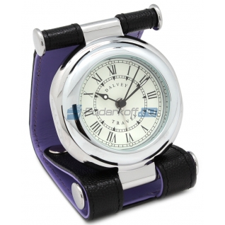 """Часы путешественника в кожаном чехле, фактура """"caviar"""""""