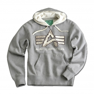 "Толстовка Alpha Industries с большим ""A"", винтаж, цвет серый"