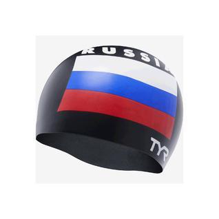 Шапочка для плавания Tyr Russia Silicone Swim Cap, силикон, Lcsrus/001,черный