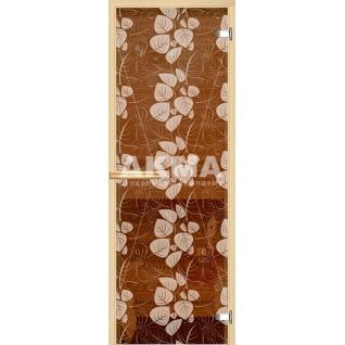Дверь для сауны АКМА Арт-серия GlassJet БЕЛЫЕ ЛИСТЬЯ 7х19 (коробка -осина/липа)