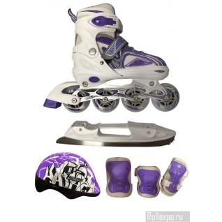 Набор раздвижных роликов-коньков MaxCity Volt Ice Combo Girl с защитой фиолетовые (детские)