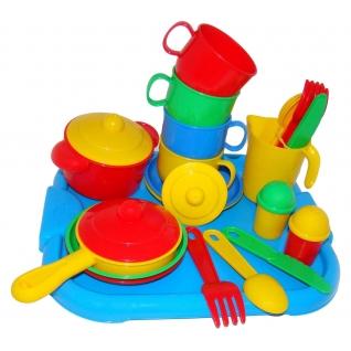 """Набор детской посуды """"Хозяюшка"""" с подносом на 4 персоны Полесье"""