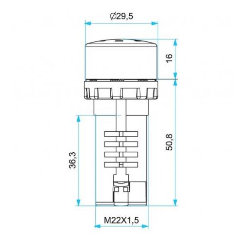 Зуммер моноблочный с подсветкой, 24В пост./перем. тока, постоянная громкость MBZS024S ЕМАС 900609 2