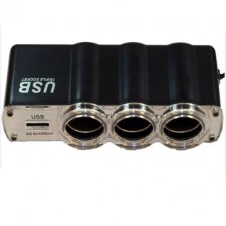 Разветвитель на 3 гнезда прикуривателя с USB-портом Prestige 3130