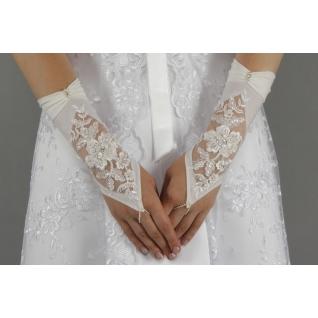 Перчатки свадебные №209, белый (22 см, бисер)