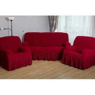 Чехлы Престиж-Цветы на Диван+2 Кресла, темно-красный