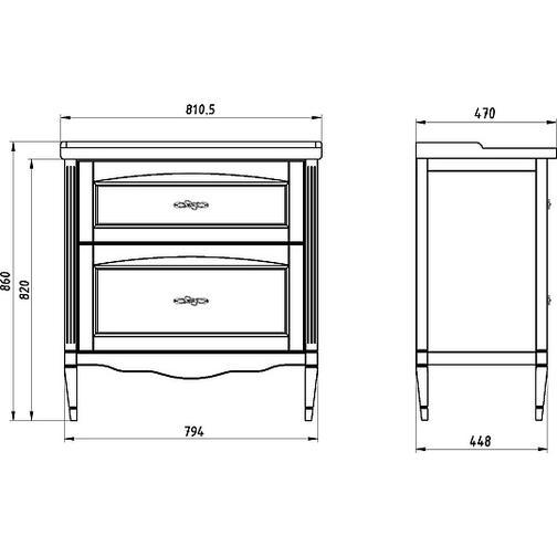 Подстолье Римини Nuovo 80 (Антикварный орех) ASB-Woodline 38117095 3