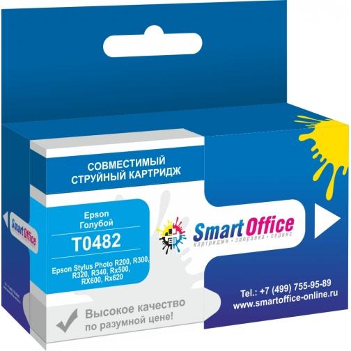 Картридж T0482 для Epson Stylus Photo R200, R300, R320, R340, RX500, RX600, RX620 cyan, совместимый (голубой) 7413-01 Smart Graphics 851253 1