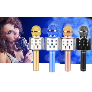 Беспроводной караоке-микрофон с колонкой и bluetooth WS-858 Gold Караоке микрофон с колонкой ws-858 No name