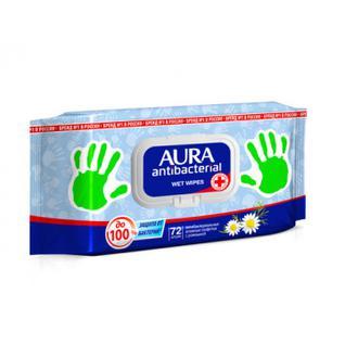 Салфетки влажные AURA антибактериальные 72шт.