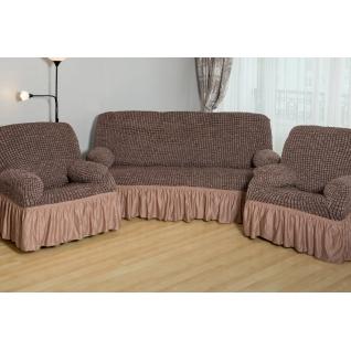 Чехлы с оборкой Модерн-Металлик на Диван+2 Кресла, кофе с молоком