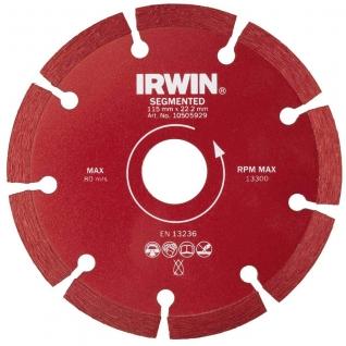 Диск алмазный Irwin 115/22,2 мм сегментный сухая резка