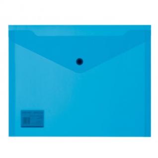 Папка-конверт на кнопке А5, 19х24, 180мкм, синий 10шт/уп