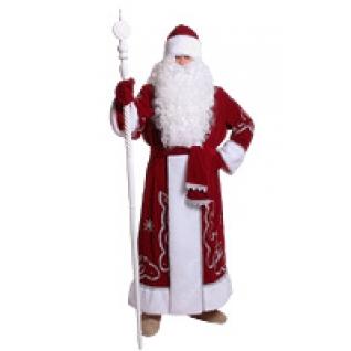 Костюм Деда Мороза бархат с орнаментом красный