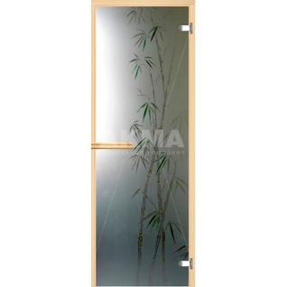 Дверь для бани АКМА АРТ с Фьюзингом БАМБУК 7х19 (коробка осина или липа)