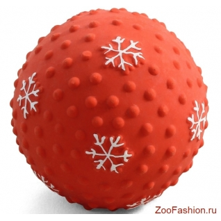 """Игрушка для собак из латекса """"Мячик-снежинка"""" (7см)"""