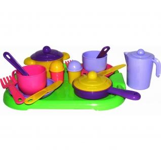 """Набор детской посуды """"Хозяюшка"""" с подносом на 2 персоны Полесье"""