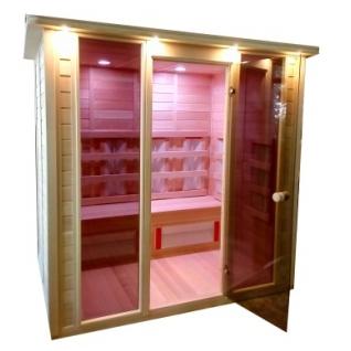 Инфракрасная сауна 4 - местная со стеклянной дверью и двумя стеклянными вставками