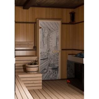 Дверь для бани РУССКАЯ БАНЯ 7х19, прозрачное матовое