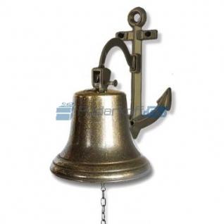 Сувенирная рында на кронштейне-якоре, корабельный колокол, d 18 см, цвет антик