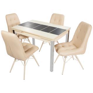Обеденная группа для столовой и гостиной Аврора М Стол Шанхай + 4 стула Бордо