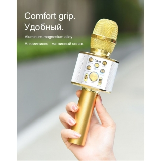 Беспроводной караоке микрофон HOCO BK3 gold Hoco BK3 silver