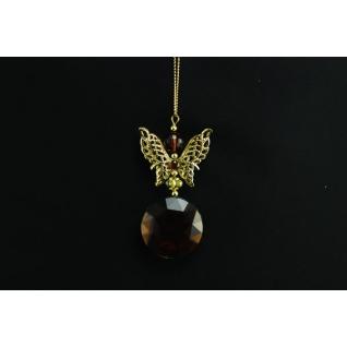 Украшение подвеска Бабочка, цвет янтарь