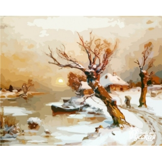 "Картина по номерам ""Деревня в снегу"""