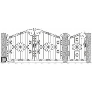 Кованые ворота калитка В-017 (2м x 3.5м)