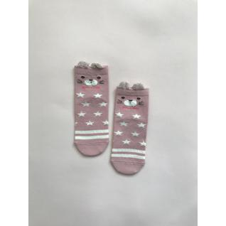 Ф002 носки детские розовый кошка со звездами Фенна (12-18) (10)