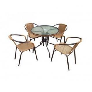 Набор мебели Николь-1А круглый (иск. ротанг) капучино