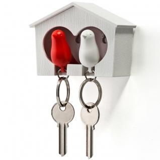 Держатель+брелок для ключей двойной Sparrow белый/красный
