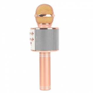 Беспроводной караоке-микрофон с колонкой и bluetooth WS-858 Rose Gold Караоке микрофон с колонкой ws-858 No name