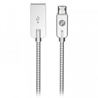 Кабель USB 2.0-microUSB Partner STEELY ПР037725/38650 1.2м 2.1A серебристый