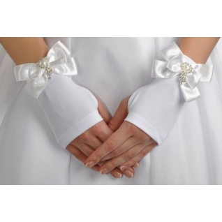Перчатки свадебные №120, белый (короткие)