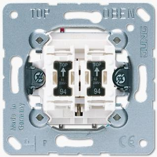 Механизм выключателя Jung 535U5 двухклавишный 10А кнопка без фиксации с подсветкой (2 НО контакта)