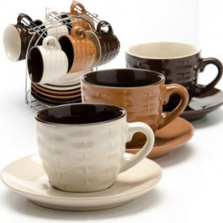 Сервиз кофейный 6 чашек(90мл)+ 6 блюдец на подставке LR(х8) (24669)