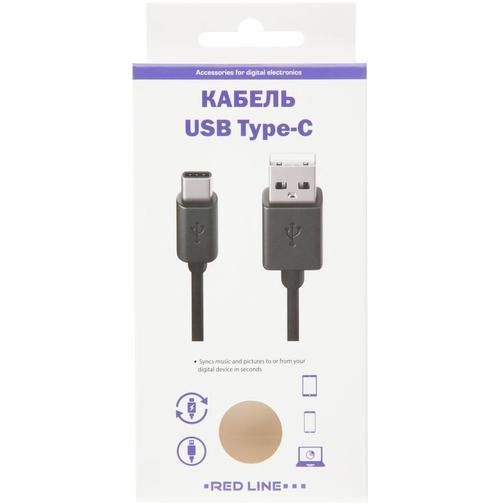 Кабель USB 2.0 - USB Type-C, М/М, 2 м, Red Line, черный, УТ000017102 42470914