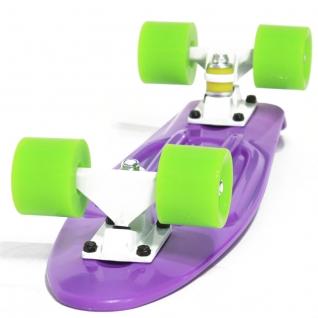 Скейт борд 4-колёсный Hubster Cruiser 22 фиолетовый с зелёными колесами