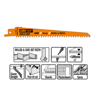 Пилки сабельные СМТ 5 штук для дерева и металла(BIM) 150x4,3x6TPI JS611DF-5