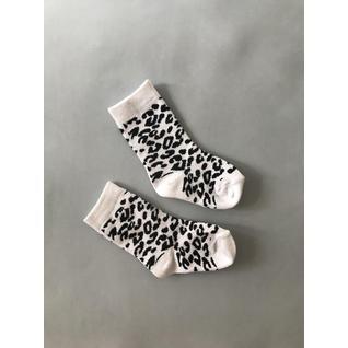 3939 носки детские леопрдовые белый черный Роза (12-18) (10)