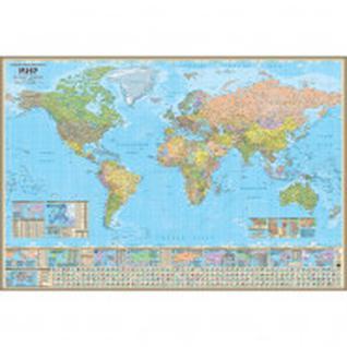 Настенная карта Мир политическая 1:26млн.,1,58х1,07 м.