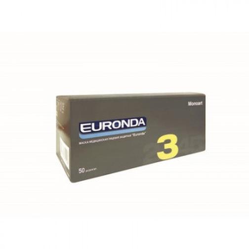 Маска медицинская 3-х сл. Euronda розовая, картон, 50 штук в упак 40108087