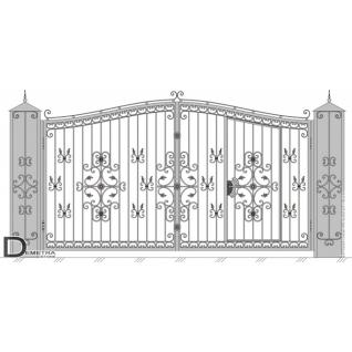 Кованые ворота калитка В-018 (2м x 3.5м)